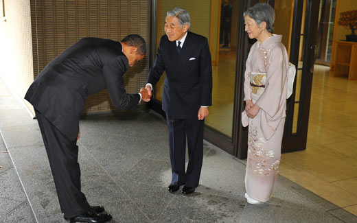 Obama bowing on Japan